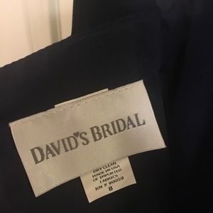David's Bridal Cotton Dress in Navy Blue